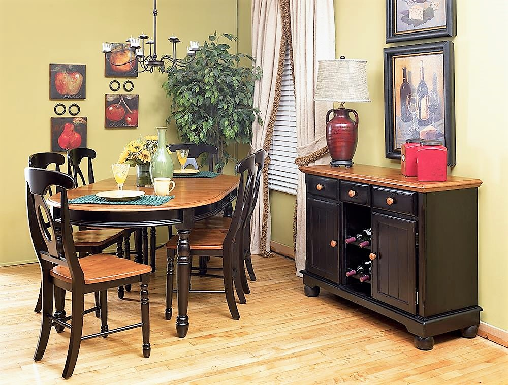 British Isles Oval Leg Table Oak And Black Room Concepts
